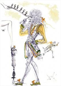 Casanova: Six oeufs (zes eieren), originele Gravure met lithografie kleur